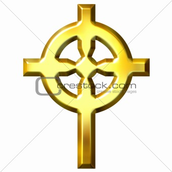3D Golden Celtic Cross
