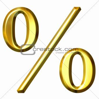 3d Golden Percentage Symbol