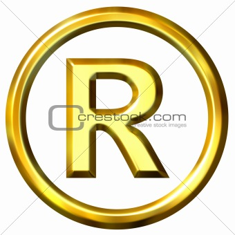 3D Golden Registered Symbol