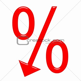 3d percent symbol with arrow directed down