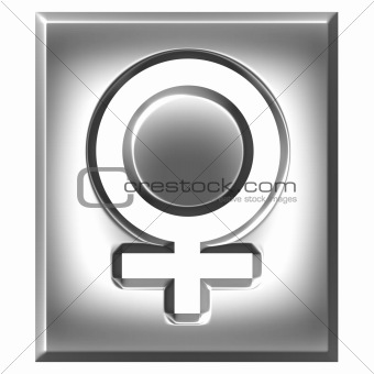 3D Silver Female Symbol Sign