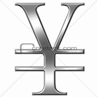 3D Silver Yen Symbol