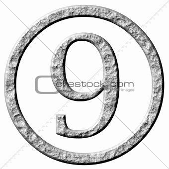 3D Stone Framed Number 9
