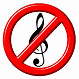 No music 3d sign
