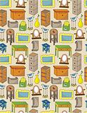 cartoon furniture seamless pattern