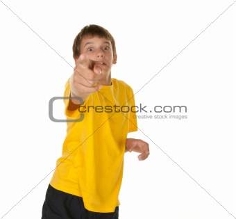 boy pointing towards camera