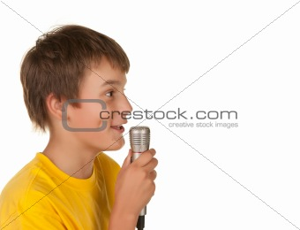 boy speaking with microphone