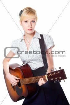 young woman playing guitar on isolated white