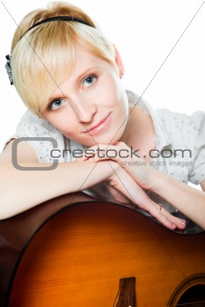 blond woman with guitar on isolated white