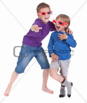 boys having fun wearing 3D glasses