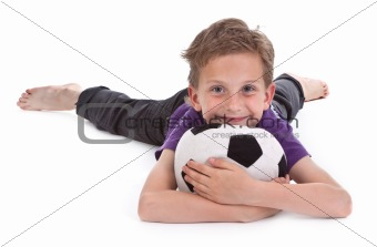 small boy with football