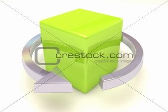 Cube and arrow