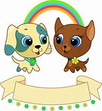 Cute puppy and kitten vector illustration