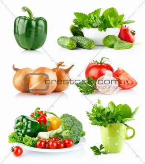 set fresh vegetables with green leaf