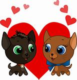 Cute kitten and kitten vector illustration