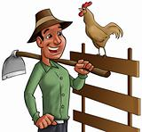 farmer and cock
