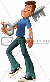 boy with big key
