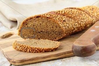 baguette rye  black bread on a wooden board