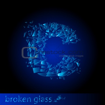 One letter of broken glass - C