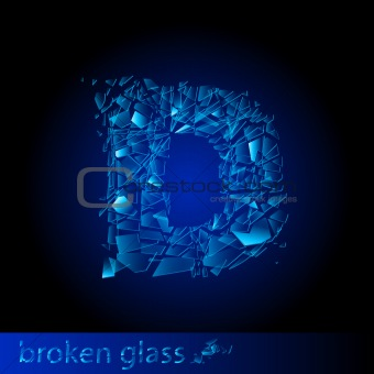 One letter of broken glass - D