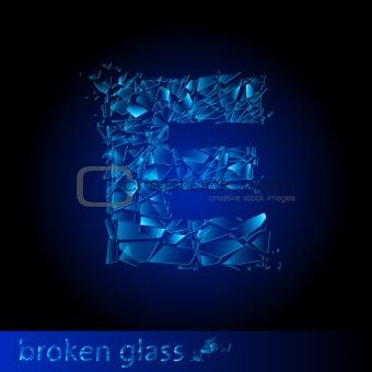 One letter of broken glass - E