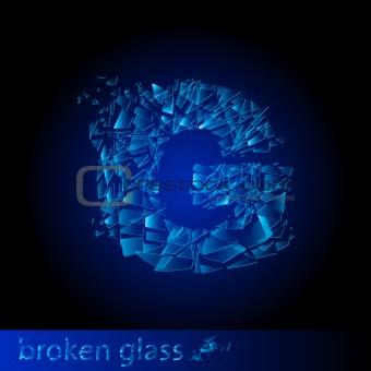 One letter of broken glass - G