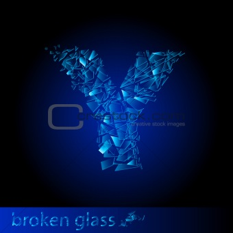 One letter of broken glass - Y