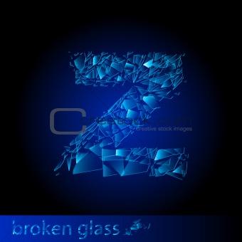 One letter of broken glass - Z