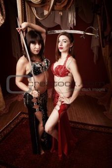 Belly Dancers Holding Swords