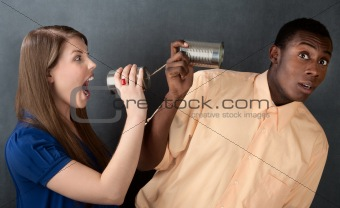 Woman Yelling at Man Through Stringed Cans