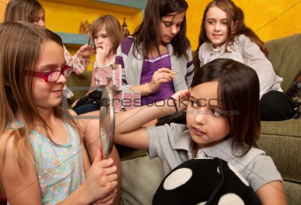 Little Girls Fixing Their Hair