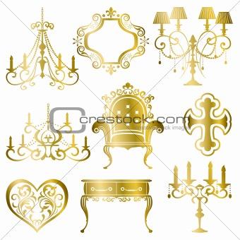 Gold antique design element set