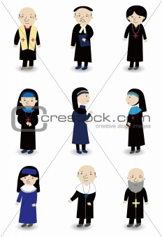 cartoon Priest and nun icon set