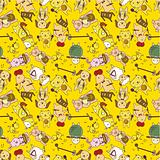 seamless cartoon animal play music pattern