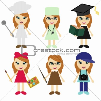six girls of different professions