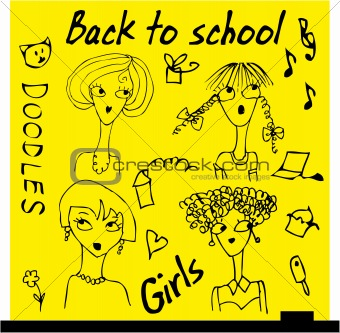 Back to school girls set cartoon face