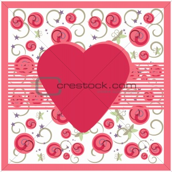Greeting card on floral background