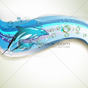Background with dolphins