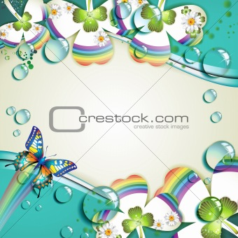 Clover with drops and butterfly