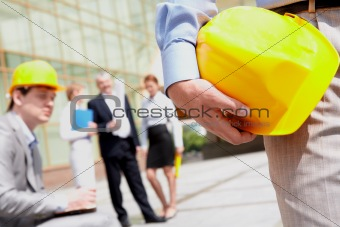 Holding helmet
