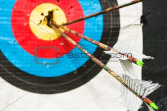 arrows in the center of the target