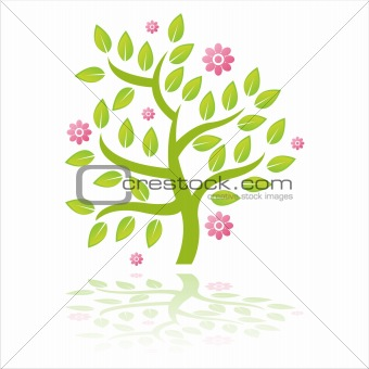 green tree with flowers