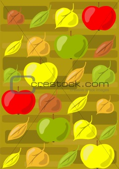 apples and autumn leaves