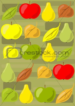 apples, pears and leaves