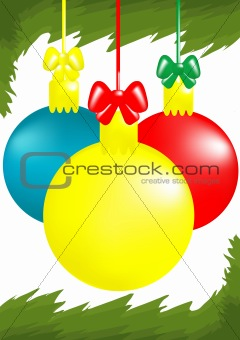 three x-mas balls