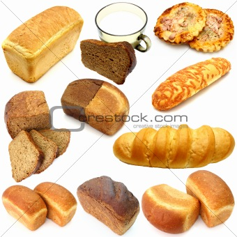 Assortment of different types of bread isolated on white background