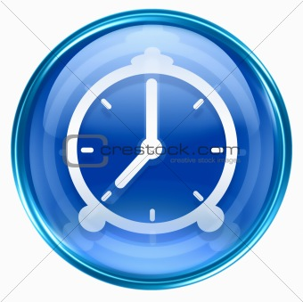 clock icon blue, isolated on white background