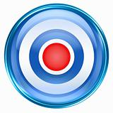 Record icon blue, isolated on white background.