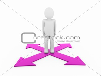 3d man human arrow purple way