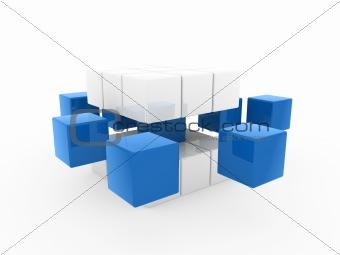 3d cube blue white